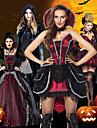 Vampyr Cosplay Kostymer / Dräkter Festklädsel Vuxna Dam Jul Halloween Festival / högtid Spets Satin Svart / Svart / röd / Vinröd Dam Karnival Kostymer Vintage