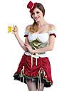 Oktoberfest Dirndl Trachtenkleider Dam Klänning Bavarian Kostym Purpur / Blommig