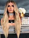 Syntetiska peruker Kroppsvågor Middle Part Peruk Guld Lång Blekt Blont Syntetiskt hår 26 tum Dam Dam Guld