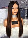 Syntetiska peruker Kinky Rakt Middle Part Peruk Lång Svart / Brun Syntetiskt hår 28 tum Dam Färggradient Mörkbrun