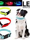 Hund Katt Små pälsdjur Halsband Justerbara / Infällbar LED-lampor blinkar Enfärgad Polyester Svart Orange Gul