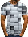 Men\'s Weekend Street chic T-shirt - Geometric / Color Block / 3D Black & White, Pleated / Print Gray