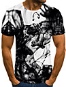 Men\'s T shirt Shirt Graphic Abstract Plus Size Pleated Print Short Sleeve Daily Tops Streetwear Exaggerated Round Neck Black / Summer