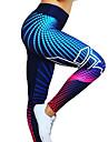 Dam Hög midja Yoga byxor Digitalt 3D-tryck Svart Mörkgrå svart / silver Röd / Vit Brun Elastan Löpning Fitness Gym träning Cykling Tights Leggings Sport Sportkläder Snabb tork Butt Lift Magkontroll