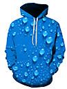 Herre Hattetrøje Farveblok 3D Hætte Daglig I-byen-tøj Basale Afslappet Hættetrøjer Sweatshirts Blå