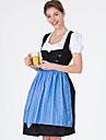Oktoberfest Dirndl Trachtenkleider Dam Topp Klänning Förkläde Bavarian Kostym Blå / 100% bomull