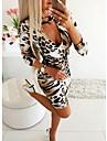 Women\'s Daily Wear Basic Sheath Dress - Leopard Print Khaki S M L XL