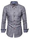 Men\'s Shirt Check Geometric Plus Size Print Long Sleeve Daily Tops Basic Wine Gray White