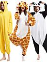 Vuxna Kigurumi-pyjamas pika pika Djurmönstrad Onesie-pyjamas Polär Ull Svart / Vit / Orange Cosplay För Herr och Dam Pyjamas med djur Tecknad serie Festival / högtid Kostymer / Trikå / Onesie