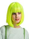 Syntetiska peruker Lugg Rak Naturlig Straight Bob-frisyr Pixie-frisyr Kort Bob Peruk Medium längd fluorescerande grön Syntetiskt hår 12 tum Dam Söt Cosplay Dam Grön HAIR CUBE