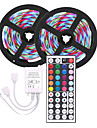 LED Strip Light  (2*5M)10M 3528 RGB 600led Strips Lighting Flexible Color Changing with 44 Key IR Remote Ideal for Home Kitchen Christmas TV Back Lights DC 12V
