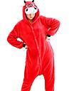 Vuxna Kigurumi-pyjamas Ko Onesie-pyjamas Flanell Röd Cosplay För Herr och Dam Pyjamas med djur Tecknad serie Festival / högtid Kostymer