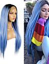 合成レースフロントウィッグ ストレート マット Rihanna ミドル部 無料パーツ フロントレース かつら ロング ブラック / スモークブルー 合成 26 インチ 女性用 コスプレ 耐熱 パーティー ブルー