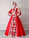 Rokoko Victoriansk 18th Century Klänningar Festklädsel Maskerad Dam Spets Cotton Kostym Röd Vintage Cosplay Party Bal Golvlång Lång längd Balklänning / Blommig / Hatt