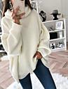 Γυναικεία Πουλόβερ Πλεκτό Συμπαγές Χρώμα Βασικό Καθημερινό Μακρυμάνικο Φαρδιά Πουλόβερ ζακέτες Ζιβάγκο Φθινόπωρο Χειμώνας Ανθισμένο Ροζ Γκρίζο Λευκό / Αργίες