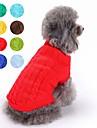 Katt Hund Tröjor Vinter Hundkläder Brun Ljusblå Gul Kostym Husky Labrador golden retriever Cotton Enfärgad Klassisk Håller värmen XS S M L