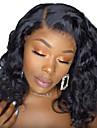 Äkta hår Spetsfront Peruk Bob-frisyr Kort Bob Gratis del stil Brasilianskt hår Vågigt Svart Peruk 130% Hårtäthet med babyhår Naturlig hårlinje Till färgade kvinnor 100% Jungfru 100 % handbundet Dam