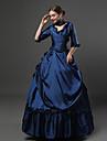 Rokoko Victoriansk 18th Century Klänningar Festklädsel Maskerad Kostym Bläck blå Vintage Cosplay Party Bal 3/4 ärm Svepsläp Balklänning Plusstorlekar Anpassad