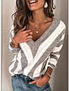 Women\'s Striped Long Sleeve Pullover Sweater Jumper, V Neck Wine / Purple / Blue S / M / L