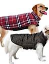 Hund Kappor Väst Vinter Hundkläder Vändbar Brun Grön Röd Kostym Cotton Pläd / Rutig Håller värmen Vändbar XS S M L XL XXL