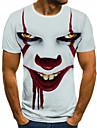 Men\'s Tee T shirt Shirt 3D Print Graphic Tribal 3D Print Short Sleeve Halloween Tops Streetwear Punk & Gothic Round Neck White