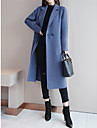 Women\'s Daily Fall & Winter Long Coat, Solid Colored Shirt Collar Long Sleeve Polyester / Nylon Black / Blue / Red