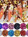 12 färger bladblandad uppsättning glitter nagelflingor holografisk paillett spik paljetter höst lönnlöv form för nageldekorationer