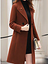 Women\'s Going out / Work Basic Fall & Winter Long Coat, Solid Colored Turndown Long Sleeve Polyester Black / Army Green / Red