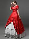 Prinsessa Rokoko Victoriansk 18th Century Klänningar Festklädsel Kostym Dam Cotton Kostym Röd Vintage Cosplay Maskerad Fest / afton Kortärmad Golvlång Lång längd Plusstorlekar