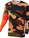 21Grams Kamouflage Herr Långärmad Cykeltröja Dirt Bike Jersey - Svart / Orange Svart / Blå Cykel Tröja Motorcykelkläder Överdelar UV-resistent Andningsfunktion Snabb tork sporter Vinter 100% Polyester