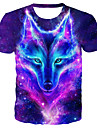 Men\'s Plus Size Galaxy 3D Wolf Print T-shirt Basic Exaggerated Daily Club Round Neck Purple / Summer / Short Sleeve / Animal