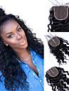 Dolago Brasilianskt hår 4x4 Stängning Vågigt Fria delen / Mittparti / 3 Del Fransk spets Remy-hår / Äkta hår Dam med babyhår / 100 % handbundet / Snörning av snörning