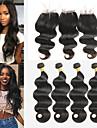 4 paket med stängning Peruanskt hår Kroppsvågor Remy-hår Hårförlängningar av äkta hår Hår Inslag med Stängning 8-26 tum Naturlig Hårförlängning av äkta hår Mjuk Bästa kvalitet Ny ankomst Människohår