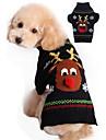 Katt Hund Tröjor Jul Vinter Hundkläder Svart Röd Kostym Akrylik Fiber Ren Jul Nyår XXS XS S M L XL