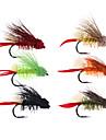 6 pcs Flugor Flugor Flytande Bass Forell Gädda Flugfiske Färskvatten Fiske Karpfiske Metall