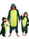 Barn Kigurumi-pyjamas Dinosaurie Djurmönstrad Onesie-pyjamas Flanell Grön / Röd Cosplay För Pojkar och flickor Pyjamas med djur Tecknad serie Festival / högtid Kostymer
