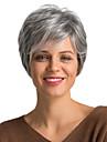 Mänskligt hår Peruk Korta Lockigt Pixie-frisyr Korta frisyrer 2019 Med lugg Lockigt Kort Sidodel Dam Grå mörkt vin Medium Rödbrun / Blekt Blont 8 tum