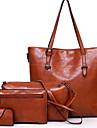 Dam Dragkedja PU bag set Ensfärgat 4 st handväska Svart / Brun / Vin