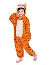 Barn Kigurumi-pyjamas Tiger Djurmönstrad Onesie-pyjamas Flanell Orange Cosplay För Pojkar och flickor Pyjamas med djur Tecknad serie Festival / högtid Kostymer