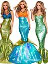 Sjöjungfrustjärt Aqua Queen Aqua Princess Cosplay Kostymer / Dräkter Festklädsel Vuxna Dam Jul Halloween Karnival Festival / högtid Terylen Grön / Brun / Blågrön Dam Karnival Kostymer Vintage