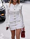 Women\'s Elegant Sheath Dress - Solid Colored Black White S M L XL