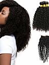 3 paket med stängning Brasilianskt hår Kinky Curly Obehandlad hår 100% Remy Hair Weave Bundles Human Hår vävar bunt hår En Pack Lösning 8-20 tum Naurlig färg Hårförlängning av äkta hår Mjuk Ny