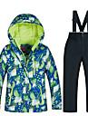 MUTUSNOW Pojkar Skidjacka och -byxor Håller värmen Vattentät Vindtät Skidåkning Snowboardåkning Vintersport Bomull Terylen Flanell Träningsdräkter Skidkläder