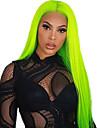 Syntetiska snörning framifrån Rak Gratis del Spetsfront Peruk Lång fluorescerande grön Syntetiskt hår 18-26 tum Dam Mjuk Elastisk Dam Grön / limfria