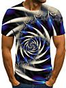 Pánské Tričko Košile Geometrický 3D Větší velikosti Tisk Krátký rukáv Denní Topy Základní Šik ven Kulatý Vodní modrá