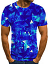 Men\'s Daily Going out Street chic / Exaggerated T-shirt - 3D / Graphic / Letter Pleated / Print Blue