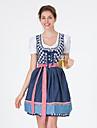 Oktoberfest Dirndl Trachtenkleider Dam Klänning Bavarian Kostym Blå Rubinrött
