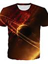 Homens Camiseta Camisa Social Galaxia Grafico 3D Tamanhos Grandes Estampado Manga Curta Diario Blusas Basico Exagerado Decote Redondo Laranja / Bandagem