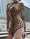 Women's Elegant Sheath Dress - Leopard Print Yellow S M L