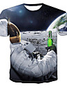 Men\'s Tee T shirt 3D Print Graphic 3D Astronaut Print Short Sleeve Party Tops White Black Red
